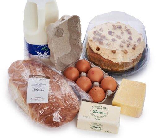Essentials box with cake