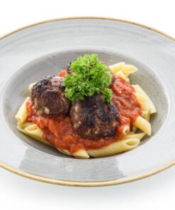 classic meatballs and penne pasta