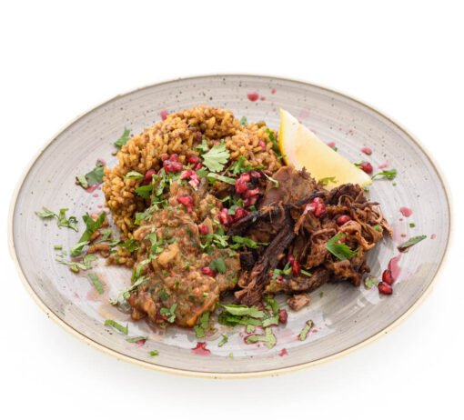 lamb shawarma, mejadara rice and baba ganoush