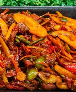 mexican pepper, chilli, and beef rump stir fry